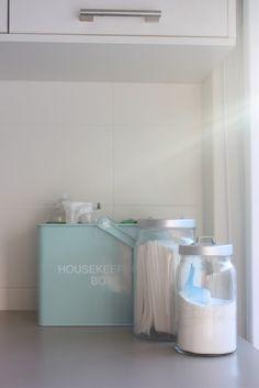 tin basket for cleaners & IKEA BURKEN jars