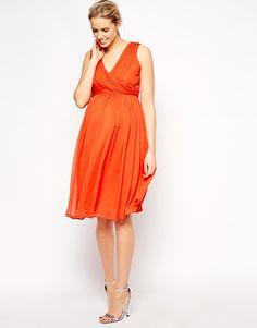 Maternity Orange Midi Dress With Twist Wrap
