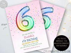 6th Rainbow Birthday Invitation Editable Template Rainbow Balloon Invite For Her 6 Year Old Invite Party Celebration Digital Download Invitation Card Design, Printable Invitations, Party Invitations, Invitation Cards, Invites, Rainbow Birthday Invitations, Rainbow Balloons, 18th Birthday Party, Party Planning
