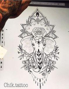 Artists have been working hard to create new tattoos and add extra awesom. Leg Tattoos, Flower Tattoos, Body Art Tattoos, Tattoo Drawings, Small Tattoos, Sleeve Tattoos, Tatoos, Mandala Elephant Tattoo, Elephant Tattoo Design