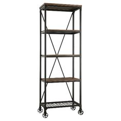 Merida 4 Shelf Mixed Media Bookcase - Homelegance : Target ~$250 (for LR) 25-lb shelf limit [Dimensions: 74.5 inches H x ~ 24-in. W x 15-in. D]