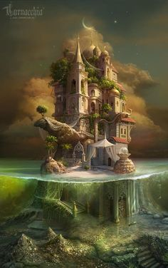 Just to put you in the mood for some fantasy reading or writing. a stunning illustration of a fairytale, fantasy castle. A mini-island refuge. Fantasy Places, Fantasy World, Fantasy Artwork, Fantasy Drawings, Fantasy Paintings, Art Drawings, Fantasy Castle, Fantasy House, Dream Fantasy