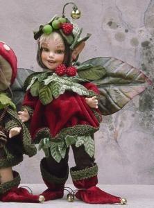 Ribes, bambola in porcellana, Fate Folletti di Porcellana - Folletti elfi in porcellana - Bambola in porcellana, personaggio artigianale, altezza: 24 cm. Collezione Montedragone.