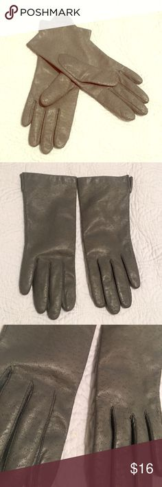 Vintage Gray Leather Gloves Authentic - vintage leather gloves. Super soft! Small fit. Pretty - minor wear. Accessories Gloves & Mittens