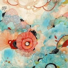 """Yellena James is an artist/illustrator residing in beautiful Portland, Oregon. Her work has been described as """"colorful arrangements of organic shapes Art And Illustration, Illustration Inspiration, Inspiration Art, Yellena James, Illustrator, Motif Floral, Affordable Art, Silk Painting, Abstract Art"""