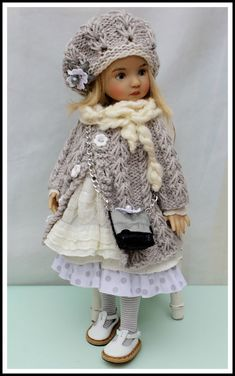 """Gray & Cream Coat Outfit +Boneka Shoes for 13"""" Effner Little Darling by Barbara 