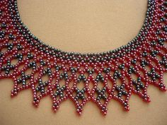 Hematite black-dark red color beadwork collar necklace. I used czech glass seed beads for this necklace. The length of the necklace with clasp is 43 cm (16,93 in), width: 4,2 cm (1,65 in) If you have any quetion or request, please dont hesitate to contact me. I post the necklace in