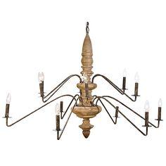 Regina Andrew Lighting 2 Tier Antique Wood Torchiere Chandelier @LaylaGrayce