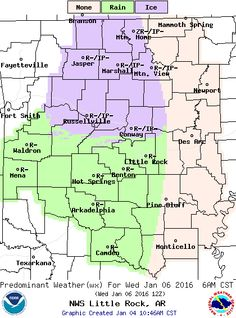 says For Little Rock & Central Arkansas Thru Tuesday Night: Partly Cloudy Mild Days & Clear Cold Nights. Hi 44 & Lo 24. Hi Tue 44 & Lo 29. Wednesday: Cloudy With A Few Early AM Sleet Pellets..Then Rain Showers. Hi 47. Wed Night: Rain After Midnight. Lo 39. Thursday: Rain. Hi 50. Thu Night: Showers Ending..Lo 44. Friday & Fri Ngt: Partly Cloudy & Warm. Hi 59 & Lo 40. Saturday Thru Sunday: Cloudy With Scattered Showers. Hi Sat 52 & Lo 34. Hi Sun 45. Updates: http://www.weather4ar.org…