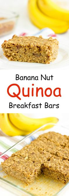 Banana Nut Quinoa Bars - Full of healthy fats, fiber, and protein. These are a great healthy breakfast or snack that you could make-ahead to grab-and-go throughout the week. Healthy Treats, Healthy Eating, Healthy Recipes, Healthy Desserts, Clean Eating, Baked Quinoa Recipes, Healthy Fats Foods, Healthy Food, Healthy Bars