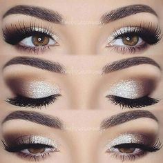 Coffee brown and white eye makeup. Glamorous wedding make up. Boho Bride make up. Wild bride make up Makeup Hacks, Makeup Goals, Makeup Inspo, Makeup Inspiration, Makeup Style, Makeup Geek, Style Inspiration, Wedding Inspiration, Wedding Hair And Makeup
