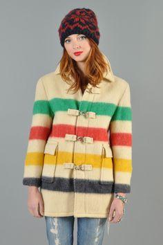 HUDSON BAY vtg 70s WOOL rainbow COLORBLOCK blanket native point cape coat JACKET   eBay