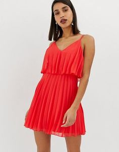 Buy ASOS DESIGN pleated crop top mini dress at ASOS. With free delivery and return options (Ts&Cs apply), online shopping has never been so easy. Get the latest trends with ASOS now. Cropped Tops, Pop Fashion, Fashion Outfits, Latest Fashion, Fashion Ideas, Short Gowns, Mermaid Evening Dresses, Beautiful Prom Dresses, Trends
