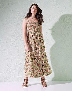 Leaf Print Shirred Maxi Dress - L52 | Simply Be