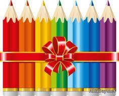 Карандаши, краски и кисти, палитра, мольберт, рисованный школьный клипарт на прозрачном фоне