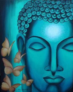 Original Vibrant Blue Buddha In Liberation With Yellow And Red Butterfly Motifs Acrylic Painting For Home Decor Painting - Liberation by Mounika Narreddy