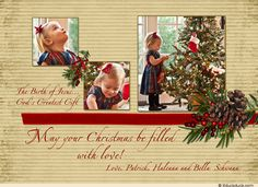 Your magical photos accented by pine cones and berries on this holiday card