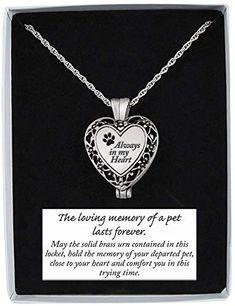 'Always In My Heart' Memorial Pet Urn Necklace Locket on Chain, Paw Print 785525254113 Pet Memorial Stones, Memorial Urns, Pet Urns, Cremation Jewelry, Pet Memorials, Locket Necklace, Heart Shapes, My Heart, Memories
