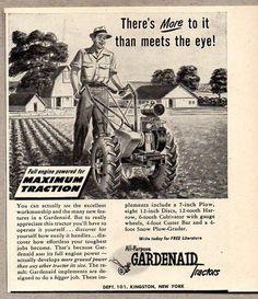 1947 Print Ad Gardenaid Small Tractors Farmer Plows Garden Kingston,NY #VintageAd Small Tractors, Old Tractors, Print Advertising, Print Ads, Walk Behind, Vintage Tractors, Old Farm, Kingston, Farm Life