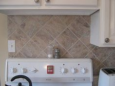 "12""x 12""peel and stick vinyl floor tiles - Easiest & cheapest backsplash ever!!"