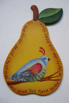Tole painted Partridge in a Pear Tree by barbsheartstrokes on Etsy,