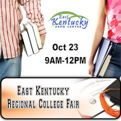 East Kentucky Regional College Fair Oct 23 from 9AM - 12PM.  @eastkyexpo  Meet representatives from multiple universities. Do you have questions about admissions, financial ad, housing or anything else about  college?  Representatives will be here to answer questions!