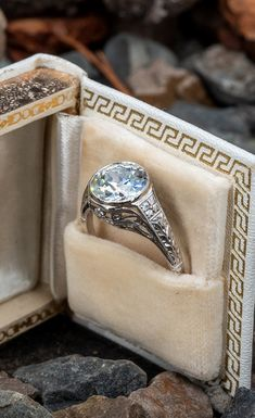 Old Euro Diamond Bezel Set Antique Engagement Ring 2.31ct K/I1 GIAn.nSku REM17590