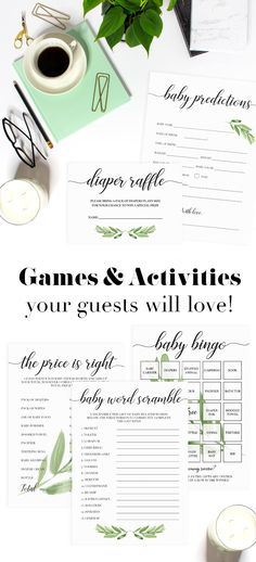 Baby Shower Games & Activities by LittleSizzle. Printable Baby Shower Game Cards for large groups. Create magnificent keepsakes with this greenery baby shower game package. The set includes everything you need to engage your baby shower guests during the party and makes a beautiful keepsake for the mom-to-be afterwards. Baby Bingo, The price is right, Baby Word Scramble, Dear Baby Wishes, Baby Predictions Card, Diaper Raffle Ticket. Greenery Baby Shower. Boho Themed Shower.