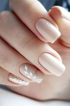 30 Cute Nail Design Ideas For Stylish Brides ❤ nail design wedding nude beige with white leaves and glitter gira.nails nageldesign hochzeit 30 Cute Nail Design Ideas For Stylish Brides Square Nail Designs, Fall Nail Art Designs, Pink Nail Designs, Acrylic Nail Designs, Neutral Nail Designs, Nail Designs For Summer, Nail Art Ideas For Summer, Rose Nail Design, Nail Polish Designs