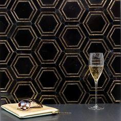 Ivy Hill Tile Gyre x Marble Mosaic Tile Color: Black/Gold Stone Mosaic Tile, Marble Mosaic, Mosaic Glass, Black Marble Tile, Black And Gold Marble, Black Marble Countertops, Gold Hex, Buy Tile, Tile Stores