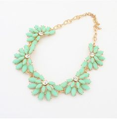 Mint Statement Necklace, Jcrew Style Floral Bib Jewelry, Wedding Party Jewlery, Free Gift Box Packaging Available on Etsy, $12.50