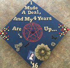 My graduation cap Graduation Cap Designs, Graduation Cap Decoration, High School Graduation, Graduation Pictures, College Graduation, Graduate School, Grad Pics, Supernatural Birthday, Supernatural Party