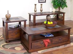 Santa Fe Coffee Table w/ Drawers & Casters | Sunny Designs Furniture | Home…