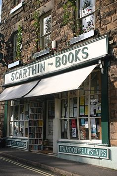 Scarthin Books: Look at the sign: Tea & Coffee upstairs! Plus books = perfect!