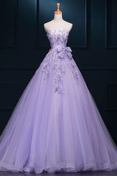 Purple Ball Gown Wedding Dresses, Gown Long Wedding Dresses, 2017 Strapless Long Purple Lace Big Wedding Dress  #weddingdresses #longweddingdresses #promdressespurple #promdresses