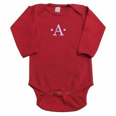 100% ring spun combed cotton, super soft, fine interlock. Embroidered with name, monogram or single initial. A Little Bit Of This Red Onesie. Click the image to get more information about the product, including personalization options, at our online store!