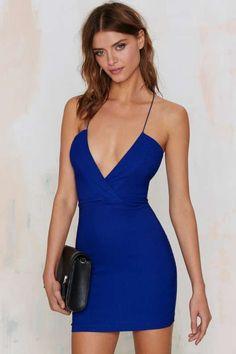 23d55aa248f Nasty Gal Yin Yang Single Sleeve Top Electric Blue Dresses