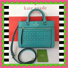 "♠️Authentic Kate Spade Leather Handbag♠️ % AUTHENTIC ✨ Very pretty, very cute leather handbag from Kate Spade  Very versatile  Crossbody, top handle and shoulder bag Approximate measurements: Length 10"" Height 7 1/2"" Width 4 1/2"" w/ adjustable & detachable long strap Front exterior compartment. 3 inside pockets Yellow gold tone hardware  Color: TURQUOISE NO TRADE kate spade Bags Satchels"
