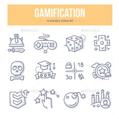 Gamification Doodle Icons by koctia Doodle vector line icons of gamification symbols, game strategy and mechanics that involve people to participate in online busines