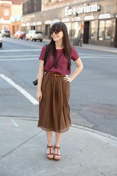 Brown pleated skirt and stripped top, t-strap heals. spring/summer style. Taken in Roanoke, VA. Street Style  www.angelspov.com