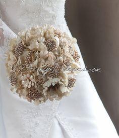 "#RusticWedding #Brooch #Bouquet. Deposit ""Rustic Wonder"", #Beige, #Cream, #Pearl #Heirloom #Bouquet. #Bridal #Brooch #Bouquet, Ruby Blooms Weddings"