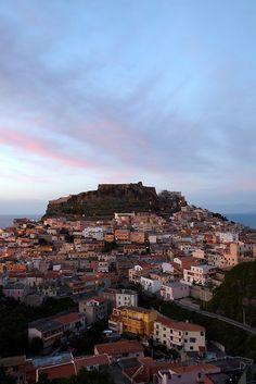 Castelsardo at sunset, Sardinia, Italy