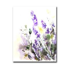 Lavender Flowers Watercolor Painting Art Print, Floral Watercolour Wall Art
