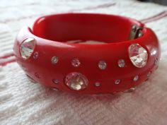 Vintage Red Rhinestone Bracelet Weiss Unmarked by LuckyCharmsFarms