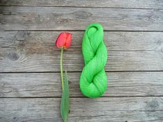 Skein of natural Linen Yarn  neon green by YarnStories on Etsy, $6.00