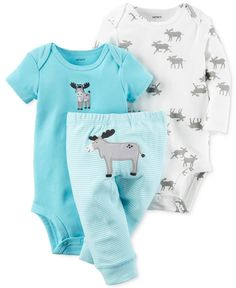 Let loose totally adorable looks with this three-piece set from Carter's, featuring a merry moose motif. | Bodysuits and pants: cotton | Machine washable | Imported | Short-sleeve bodysuit: ribbed cre