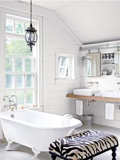 Cottage bathroom... I could be very happy at the cottage... :)  Traditional Farmhouse Decorating Ideas - Farmhouse Design Ideas - Country Living