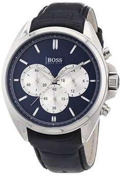 Hugo Boss Mens Chronograph Stainless Steel Leather Quartz Watch 1512882 Quartz Watch, Hugo Boss, Chronograph, Omega Watch, Watches For Men, Stainless Steel, My Style, Leather, Stuff To Buy