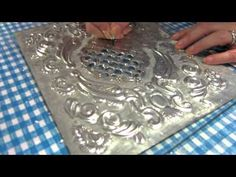amine brihoum shared a video Pewter Art, Pewter Metal, Tin Can Crafts, Metal Crafts, Metal Embossing, Metal Stamping, Aluminum Foil Crafts, Cardboard Recycling, Metal Forming