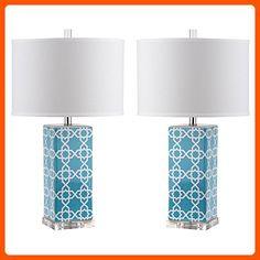 Safavieh Lighting Collection Quatrefoil Light Blue 27-inch Table Lamp (Set of 2) - Improve your home (*Amazon Partner-Link)